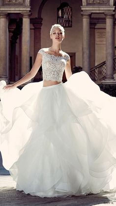 EDDY K. Milano bridal 2017 cap sleeves lace bodice trumpet skirt two piece wedding dress (md207) mv ball gown skirt