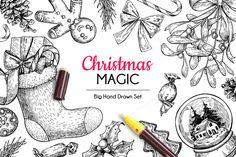 Christmas Hand Drawn Elements Set by Epine on @creativemarket