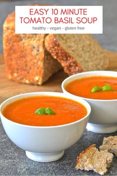 Juicy, plump tomatoes & aromatic fresh basil come together beautifully in this fresh & vibrant easy tomato basil soup which takes only ten minutes to make. Paleo Soup, Vegan Soups, Vegetarian Recipes, Healthy Recipes, Vegan Food, Healthy Soups, Vegetarian Soup, Thm Recipes, Vegan Meals