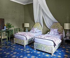 Starry floors bring this bedroom to life.