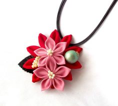 Kanzashi Necklace Red and Pink Flower Large by ScarlettandMaria