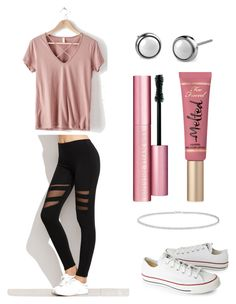 """""""Untitled #452"""" by valerialoman on Polyvore featuring Converse, Anne Sisteron and Too Faced Cosmetics"""