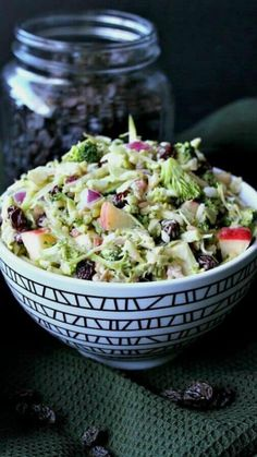 Vegan Apple Broccoli Salad has everyone's favorite vegetables and fruits. You th… Vegan Apple Broccoli Salad has everyone's favorite vegetables and fruits. You throw everything in a bowl then pour on the slightly sweet and tangy dressing. Toss and eat! Apple Broccoli Salad, Broccoli Salad With Raisins, Broccoli Recipes, Apple Salad, Raw Food Recipes, Vegetarian Recipes, Dinner Recipes, Healthy Recipes, Salad Recipes