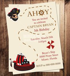 Custom Printable Pirate Party Birthday Invitation Template