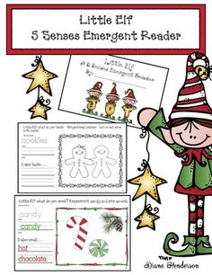 Elf activities: Adorable 5 senses emergent reader packet that covers a lot of skills & standards!