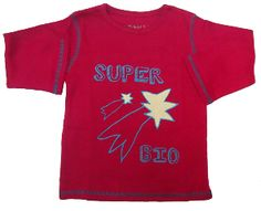 """T-shirt manches longues enfant 2 ans rouge coton bio """"Super bio"""" #TS2ansrougebio"""