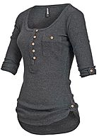 Hailys Damen Shirt 3/4 Turn-Up Ärmel halbe Knopfleiste Brusttasche dunkel grau mel - Art.-Nr.: 17021137