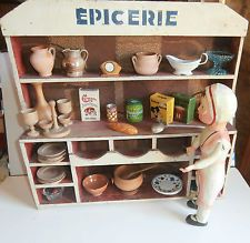 FRENCH VINTAGE  * EPICERIE ** doll house  WITH  OLD  ACCESORIES