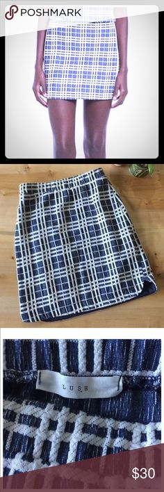 "Lush Blue & White Plaid Checkered Grid Mini Skirt Get this too cute Lush Blue and White Plaid Checkered Grid Windowpane Mini Skirt. Waist = 12@, length = 16"". NWT Lush Skirts Mini"