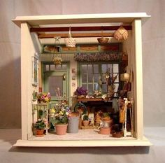 garden shed room boxItems similar to Garden House Miniature Room Box with Artisan Miniatures on EtsyCute miniature garden shed - LOVE This idea!I could make a fake mini succulent garden.Miniature shed (Thinking about building one room at a time for a piec Vitrine Miniature, Miniature Rooms, Miniature Crafts, Miniature Fairy Gardens, Miniature Houses, Miniature Furniture, Miniture Things, Fairy Houses, Dollhouse Miniatures