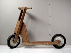 Vintage Hand-made Wooden Scooter, Diy, Popular Mechanics, Toy, Heavy Duty, Oak