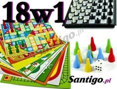 Rodzinna gra planszowa zestaw 18 w1 gier Chińczyk