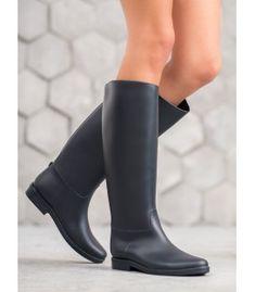 Tmavomodré gumáky Rubber Rain Boots, Booty, Ankle, Shoes, Fashion, Moda, Swag, Zapatos, Wall Plug