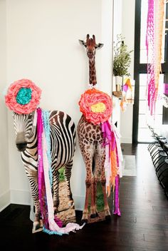 giraffe and zebra dressed for fiesta pasrty
