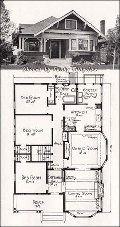 Transitional Bungalow Floor Plan - c 1918 Cottage House Plan by E. Stillwell - Vintage Los Angeles Homes Bungalow Homes, Craftsman Style Homes, Craftsman Bungalows, Cottage Homes, Small Bungalow, Modern Craftsman, Craftsman Kitchen, Bungalow Decor, Br House