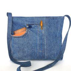Jean crossbody bag, Denim messenger bag, school jean tote, recycled tote bag…