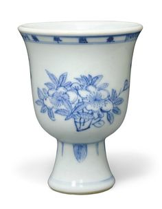 A rare blue and white stem cup, Kangxi four-character mark in underglaze blue in a line and of the period (1662-1722)