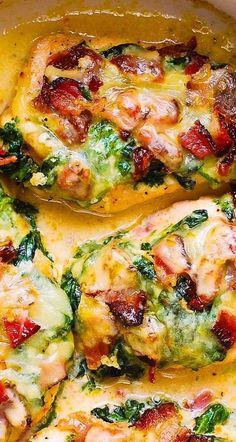 Baked Chicken Recipes, Chicken Bacon, Bacon Recipes, Cooking Recipes, Healthy Recipes, Chicken With Spinach, Bacon Meals, Roast Chicken, Chicken Salad