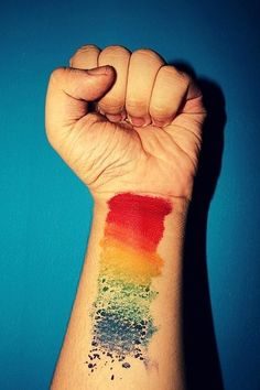 painted rainbow tattoo {koji the freak}