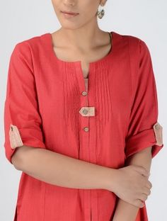 Red Cotton-Linen Kurta with Roll-up Sleeves