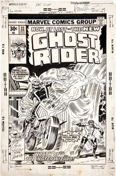 The cover to Ghost Rider #23 by Jack Kirby, inker uncertain—John Romita has signed the original art, but the inking doesn't really look like his.