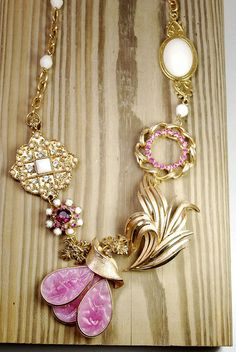 Handmade Reworked vintage pink and gold necklace