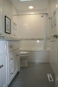 White Glss Field Tile With 12x24 Plain Gray Floor Tub Opening Going All The Way To Ceiling