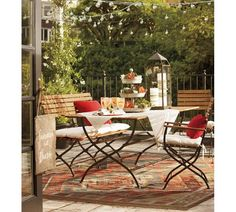 Enjoy al fresco meals with patio dining furniture from Pottery Barn. Shop wood and metal outdoor dining sets in a range of sizes, styles and colors. Outdoor Rugs, Outdoor Dining, Outdoor Spaces, Outdoor Decor, Dining Table, Barn Table, Patio Dining, Patio Table, Backyard Patio