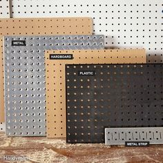"Beyond Hardboard Most home centers carry only hardboard pegboard, but you'll find other materials by searching online for ""metal pegboard"" or ""plastic pegboard."" Garagenstauraum Organize Anything with Pegboard: 14 Ideas and Tips Plastic Pegboard, Metal Pegboard, Pegboard Organization, Hang Pegboard, Computer Desk Organization, Painted Pegboard, Pegboard Display, Art Studio Organization, Tool Storage"