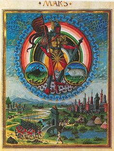Astrology illustration of Mars from the Fifteenth Century Lombard Manuscript De Sphaera. In astrology, Mars is the god of war. It rules aries, represented by the ram in the image, and traditionally it also ruled scorpius, represented by the scorpion present in the illustration.