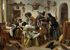 A typical Jan Steen picture (c. 1663); while the housewife sleeps, the household play.[35]