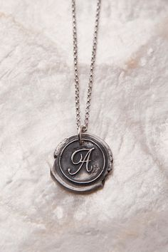 Initial pendant -- wax seal style