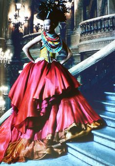 Karlie Kloss in Christian Dior by Patrick Demarchelier #dress #fashion #glamour #red