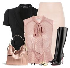 """Pink and Black"" by daiscat ❤ liked on Polyvore featuring Alexander McQueen, Miss Selfridge, Christian Louboutin, Coach, Principles by Ben de Lisi and Betsey Johnson"