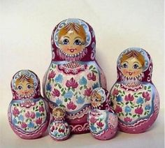 Matryoshka Dolls Sisters with Flowers