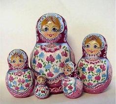 Matryoshka Dolls Sisters with Flowers