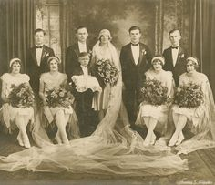 +~+~ Antique Photograph ~+~+   Lovely full bridal party portrait with a rather serious looking ring bearer.  Chicago, Illinois c. 1920.