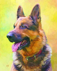 German Shepherd Art Print 8x10  German Shepherd by ScottieInspired, $12.50