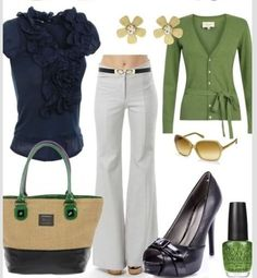 Nice colorful business causal outfit with a green cardigan and a blue blouse