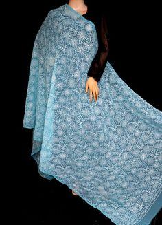 ISHIEQA's Blue Georgette Chikankari Dupatta - KL0101D Types Of Stitches, Black B, White Chiffon, Thread Work, Blue Fabric, Kurti, Ballet Skirt, Pure Products, Silk