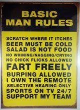 Rustic Tin Sign - Basic Man Rules ...