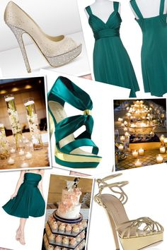 teal and gold wedding theme
