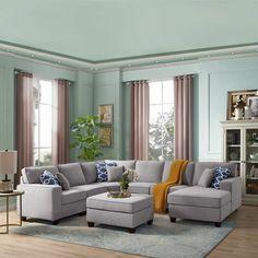"Winston Porter Nibbi 124"" Linen Right Hand Facing Modular Large Sectional with Ottoman | Wayfair Grey Sectional Sofa, Large Sectional, Modular Sectional Sofa, Corner Sectional, Chaise Sofa, Couches, Charcoal Sectional, Modern Sectional, Armless Chair"