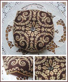 Sept 2008 - Biscornu pattern by My Aunt's Attic Biscornu Cross Stitch, Cross Stitch Embroidery, Embroidery Patterns, Hand Embroidery, Cross Stitch Designs, Cross Stitch Patterns, Blackwork, Cross Stitch Finishing, Wool Applique