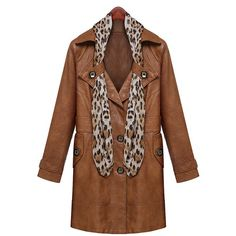 Elegant Turn-Down Collar Brown PU Leather Long Sleeve Coat with Scarf For Women, BROWN, L in Jackets & Coats | DressLily.com