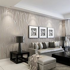 luxe living room decor idea with a dreamy wallpaper feature wall this is living in 2018. Black Bedroom Furniture Sets. Home Design Ideas