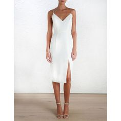 ZIMMERMANN Crepe Harness Midi Dress (€430) ❤ liked on Polyvore featuring dresses, v-neck dresses, strappy midi dress, mid calf dresses, zimmermann dresses and white dress