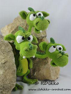 Amigurumi Crochet Pattern - Brutus-Brian-Boris the Three Headed Dragon