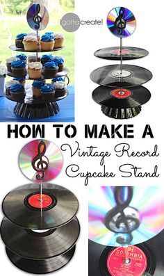 How to make a Vintage #Record #Cupcake Stand! I love this idea for a #wedding or #birthday. | #music theme #tutorial at I Gotta Create!