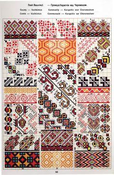 Ukrainian and Romanian embroidery of Bukovyna-Bucovina Polish Embroidery, Folk Embroidery, Cross Stitch Embroidery, Embroidery Patterns, Cross Stitch Borders, Cross Stitching, Cross Stitch Patterns, Pattern Books, Pattern Art